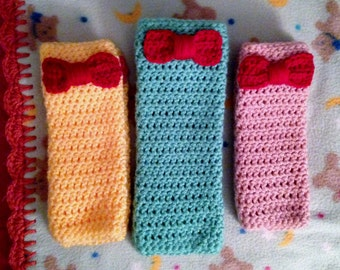 Little Girl Crochet Legwarmers- Yellow, Mint Green or Pink with Red Bow