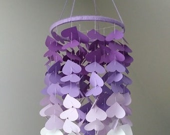 Heart mobile. Purple mobile. Baby girl mobile. Mobile for baby's room. Baby room decor. Mobile made of cardboard.
