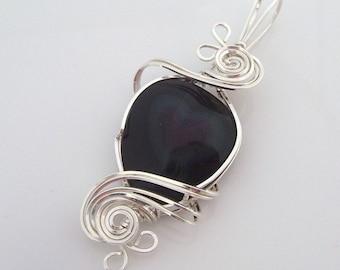 Sterling Silver Rainbow Obsidian Heart Pendant