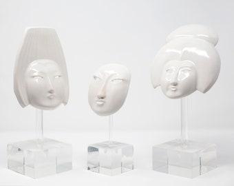 Vintage Porcelain Masks on Lucite Stands - Set of 3