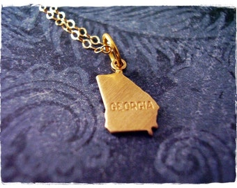Tiny Gold Georgia State Necklace - Raw Brass Georgia State Charm on a Delicate 14kt Gold Filled Cable Chain or Charm Only
