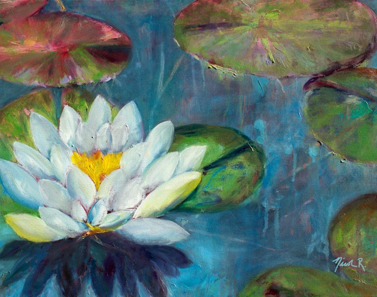 Lotus Flower Lily Pads Impressionistic Oil Painting