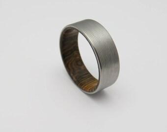 Titanium and wood wedding band  Bocote wood lined wedding ring