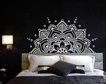 Half Mandala Wall Decal Headboard Master Bedroom Boho Bohemian Decor Vinyl Sticker Yoga Studio Namaste Ornament Mandala Decals Decor F129