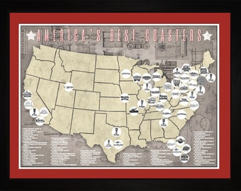 Americas Top Roller Coasters Theme Park Tracking Map | Print Gift Wall Art TCOAS1824-2