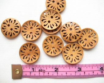 15 pcs of 23mm brown Coffee Hollow Flower floral pattern 2 Holes Round Wood Sewing knitting crochet Buttons for craft diy creative projects