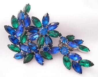 Rhinestone Brooch Earrings Set, Blue Green Rhinestones, 1950s Unverified Juliana Rhinestone Jewelry Demi