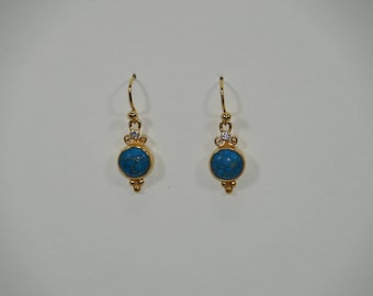 Turquoise and vermeil earrings