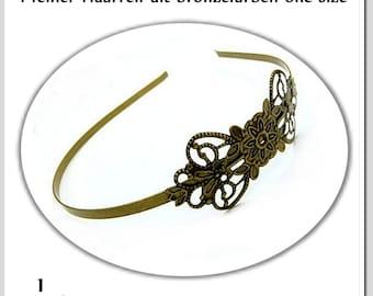 1 Filigree Headband Antique Bronze