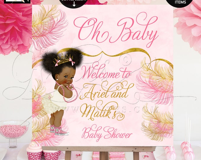 Oh Baby Welcome Sign Shower Poster, Pink and Gold, Printable, Digital, Princess, Afro Puffs, Custom Signs, Gvites