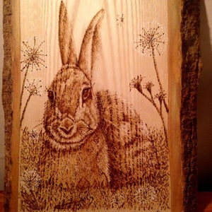 Wooden Pyrography Hare Artwork