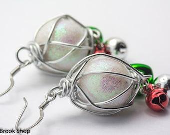 Snowball Jingles Stainless Steel Christmas Earrings - EA00409