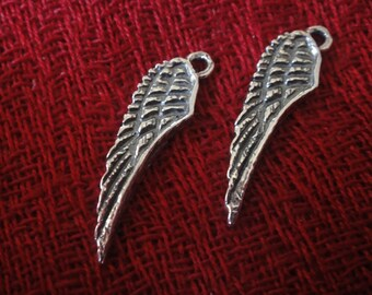 925 sterling silver oxidized -angel wing charm 1 pc.
