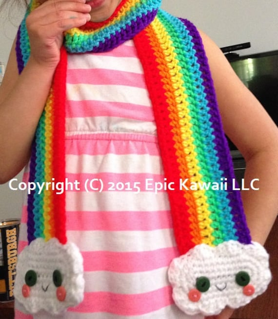 Pattern Kawaii Rainbow Crochet Scarf For Kids From Epickawaii On