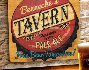 Free Beer Tomorrow Personalized Wood Sign - Mancave Sign - Wood Sign - Gifts for Him - GC1067 FREEBEERTOMORROW