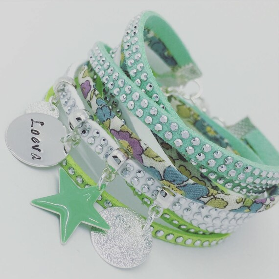 ★★ Jewel rhinestone customize ★★ multi-row Liberty betsy Ann with personalized engraving by Palilo Jewelry Personalized Bracelet