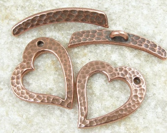 Large Copper Toggle Copper Clasp Findings TierraCast Hammertone Heart Toggle Clasp Antique Copper Findings Textured Metal (PF174)