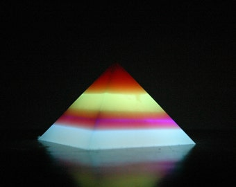 Banded Glow-in-the-Dark Pyramid - Large - 5-Band - red, green, orange, purple, blue (top down)
