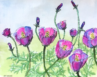 Winecups and Buds 8x10 wildflower watercolor painting by Nan Henke, original