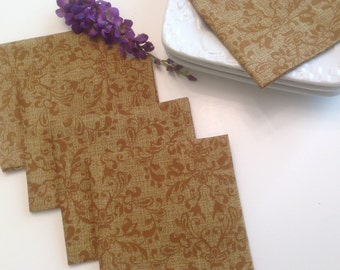 Brown Rust Cocktail Napkins, Brown Rust Appetizer Napkins, Rustic Decor Party Cocktail Napkins - set of 4, 6, or 8