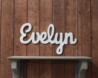 Evelyn Baby Name Wooden Sign - Nursery Decor - Baby name signs for baby showers and home decor