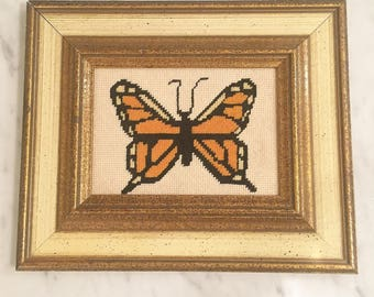 Needlepoint Monarch Wall Decor, Framed Butterfly, Florentine Frame, Vintage Framed Needlepoint