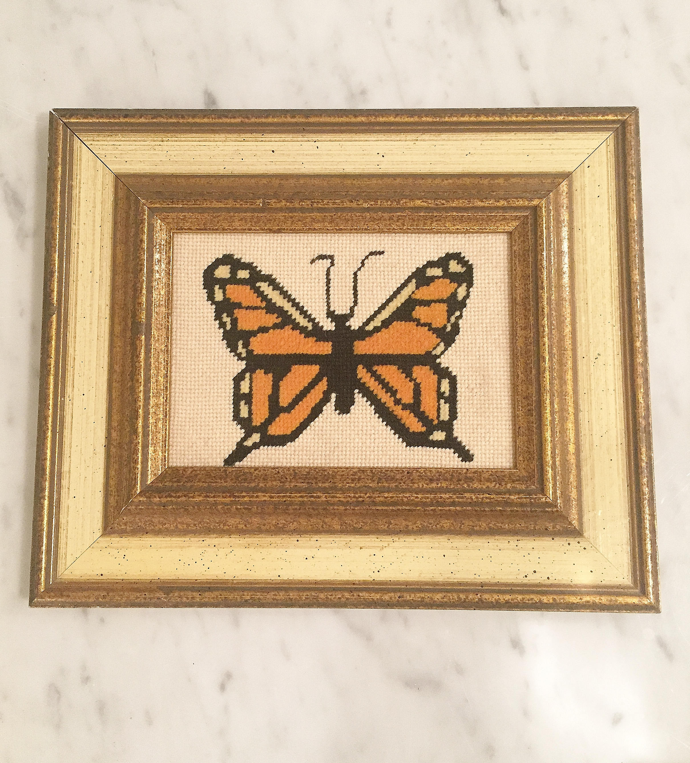 Needlepoint Monarch Wall Decor Framed Butterfly Florentine