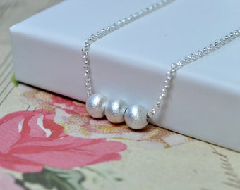 Dainty Silver Necklace, Silver Bead Necklace, Sterling Silver Chain Necklace, Minimalist Jewelry, Silver Ball Necklace, Wife Birthday Gift
