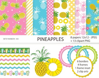 Pineapples Digital Paper Pack, Clip art pineapple, scrapbook paper, Pineapple, scrapbook clip art  - BR 443