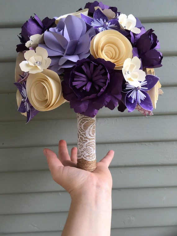 Mixed paper flower wedding bouquet origami kusudama paper