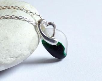 Green Sea Glass Pendant, Seaglass Necklace, Sea Glass Jewelry, Heart Pendant, Sterling Silver, Seaglass Jewellery, Beach Heart - PJ17019