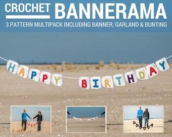 Crochet Bannerama: Crochet Banner, Garland, and Bunting 3 Pattern Multipack - PDF Digitial Download