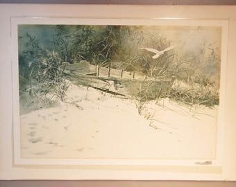 Carolyn Blish LA Print Of Watercolor Rowboat On Beach Sand Dunes w/Seagull