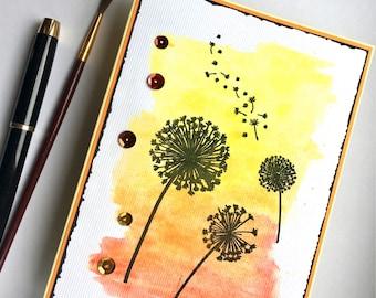 Watercolour summer thank you card - hand made card - dandelion clocks - thanks - hand painted artistic design - artist card