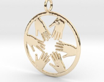 18K or 14K gold Hands in a Circle Pendant  , Gold Charme,Solid 14K / 18K Gold