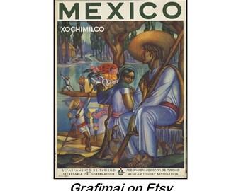 Instant Download - Vintage Travel Poster - Mexico - Xochimilco - Trajineras, Gondolas, Canals, flowers, Art Deco