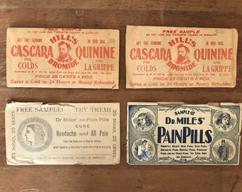 Antique / Vintage apothecary free medication samples /  label