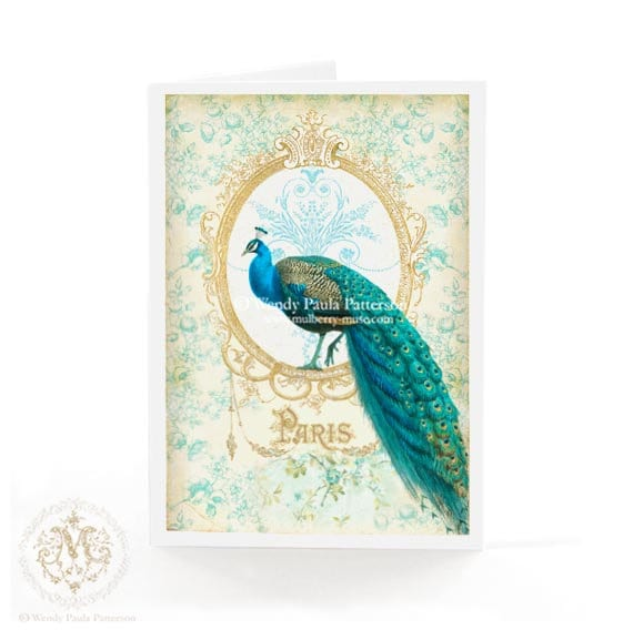 Peacock Card French Paris Art Nouveau Birthday