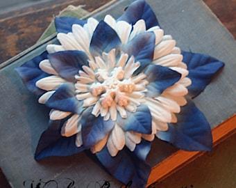 Blue and White Snowflake Hair Clip Fascinator - Vegan Friendly - Winter, Wonderland, Belly Dance, Pin Up