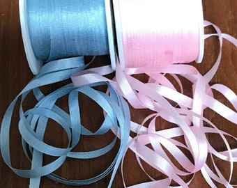 10 yards 4mm silk ribbon, Pink and blue 5 yes. each