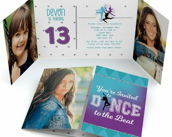 Must Dance to the Beat - Dance - Birthday Party Dancing Themed Invitations with Photos - Set of 12
