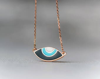 Rose Gold Evil Eye Necklace 14k Solid Oval blue white enamel pendant Graduation Gift new mom for Her Anniversary Wedding Jewelry romantic