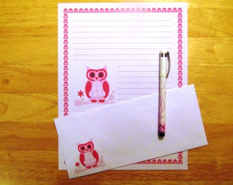 Owl On A Limb - Stationery Set With Envelopes - Snail Mail -  Pen Pal Letters - Lined Stationary Writing Paper