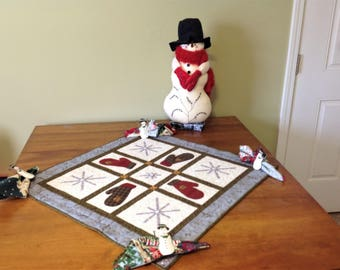 Table Topper, Centerpiece, Reversible, Quilted Mittens and Snowflakes