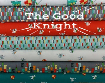 The Good Knight on White Bundle from Michael Miller Fabrics (8 Fabrics)