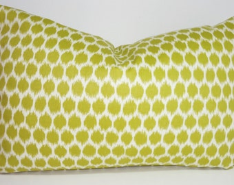 Decorative Pillow Throw Pillow Cover Waverly Lime Chartreuse  Ikat Lumbar Accent Pillow Cover 12x18