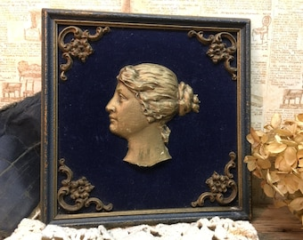 Antique Picture/Navy Velvet/Lady/Victorian