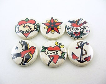 6 Tattoo Fridge Magnets, wine charms, pin back buttons, classic tattoo designs, kitchen decor, bird, anchor, bottle cap, keychain 1242