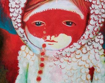 Artprint-Beautiful sad red and white eskimo childportrait.