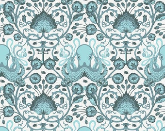 Tula Pink Octopus, OCTO GARDEN, Salt Water, Octopus Nautical Decor, Nautical Nursery, Beach Decor, Sea, Ocean, Cotton Fabric, By the Yard